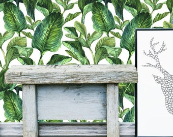 Tropical Leaves Wall Mural -  Self Adhesive Fabric Wallpaper -  Removable, Repositionable, Reusable. EASY  PEEL & STICK !! R0006