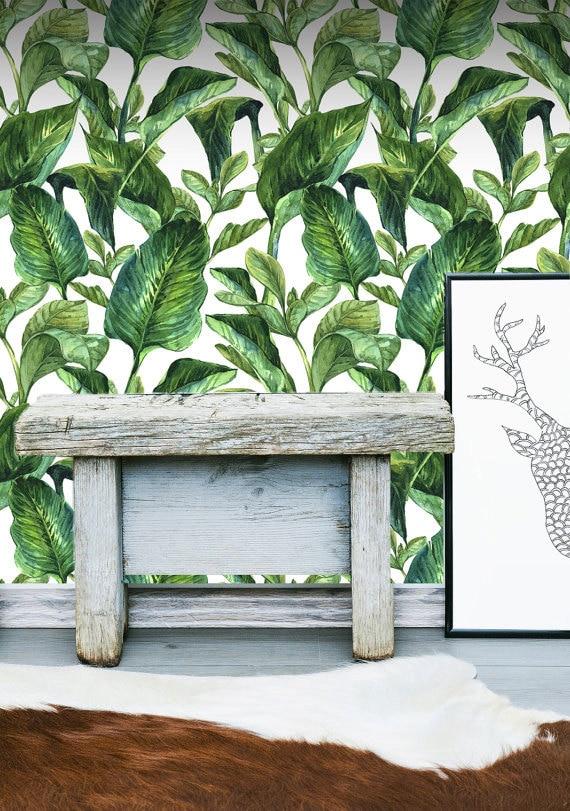 Tropical leaves wall mural self adhesive fabric wallpaper - Bande adhesive murale ...