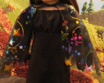 Witch Cape for 18'' Dolls, Multi- colored Witch Cape, Great for Any Witch Costume, Fun for Halloween Costumes, Trick or Treat Witch Cape