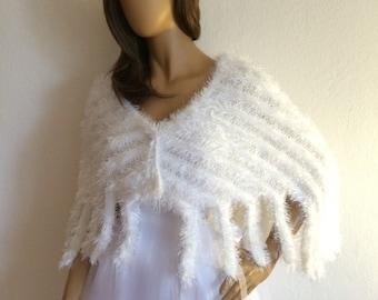 Wedding Shawl, White Shawl, Bridal Cover Up, Winter Wedding Shawl, Bridal Wrap