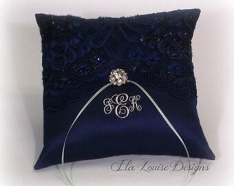 Ring Bearer Pillow Navy,  Navy Ring Bearer Pillow, Monogrammed Ring Bearer Pillow, Personalized Ring Bearer Pillow, Blue Ring Bearer Pillow
