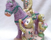 "Cute Estate Found Monkeys on Horse Decorative Statue- 12"" Tall- VINTAGE"