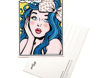 I Kissed a Girl Postcard, Pop Art Lyrics Card, Comic Book Style Song Illustration, Music Art Print, Song Lyrics Art