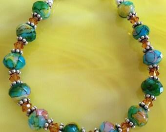 Blue & Green Multi Colored, Swarovski Crystal, Sterling Silver Bracelet (B17)