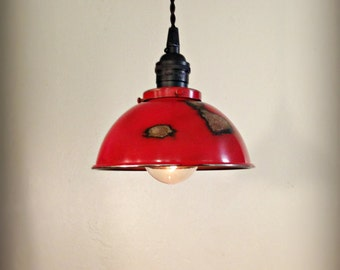 Ceiling Pendant Light  - Distressed Rustic Metal Hanging Loft Lamp - Hand Finished