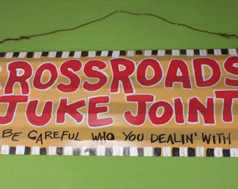 Hand Painted Tin Delta Blues SIGN - Robert Johnson / Crossroads Mississippi