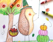Thanksgiving Coloring Pages | Instant Download for the Kids Table | 3 Pages Hedgehog Pilgrim, Yummy Pies and Thankful Drawing Sheet
