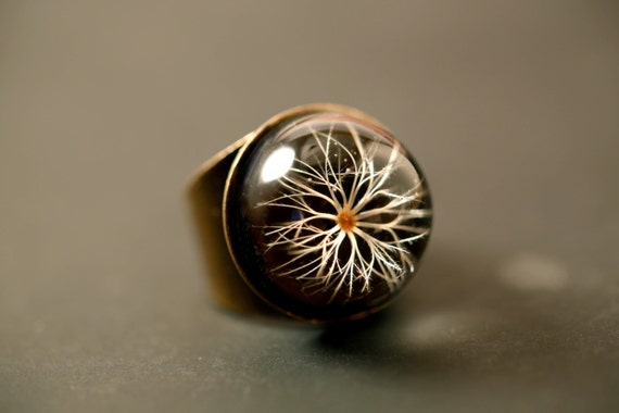 Protection ring -Flower of the Sun ring Eguzkilore  - adjustable ring -basque mythology - real seed flower, resin, legend, black ring