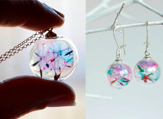Set rainbow dandelion earrings and necklace sterling silver 925: seeds make a wish