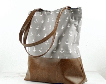 Light gray anchor handbag Messenger bag