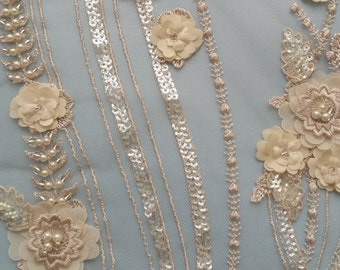 Couture beaded and embroidered lace  -Cherie - priced per  yard