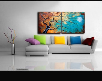 Customer Large Abstract Painting Landscape Painting Tree Modern Acrylic textured Contemporary Wall Art Painting canvas textured Anna Bulka