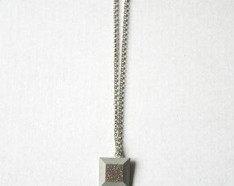 Geometric purple concrete necklace