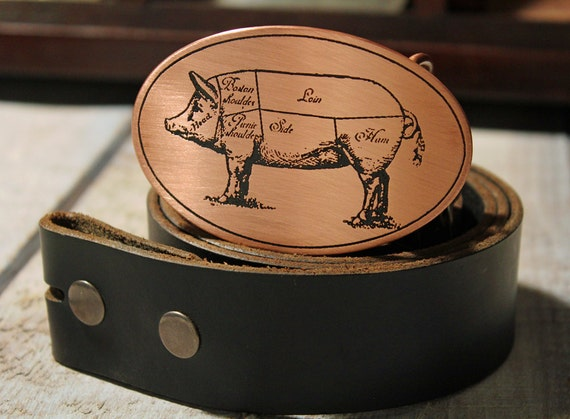 Chef Belt Buckle  Hog Diagram  Pig Butcher