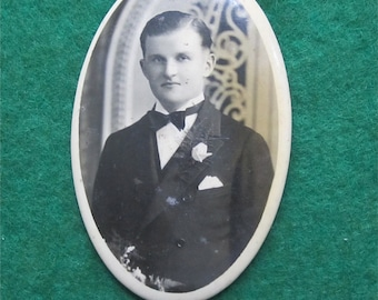 Young Groom - Original 1920's Celluloid Photo Remembrance Pocket Mirror - Free Shipping