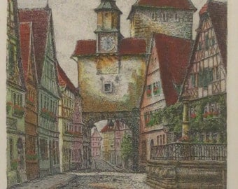 Ernst Geissendorfer Original St Marks Tower Rothenburg Germany  Early 20th Century Aquatint Etching - Signed & Framed