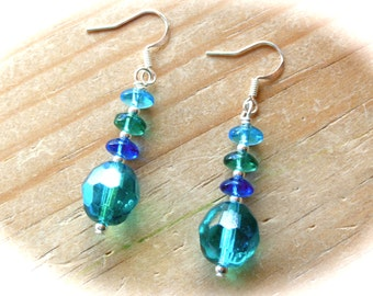 Beautiful Beaded Earrings-Teal-Turquoise-Wire Wrapped-Czech Glass-French Hook-Dangle-Gift For Her-Birthday-Friend-Just Because-Ombre