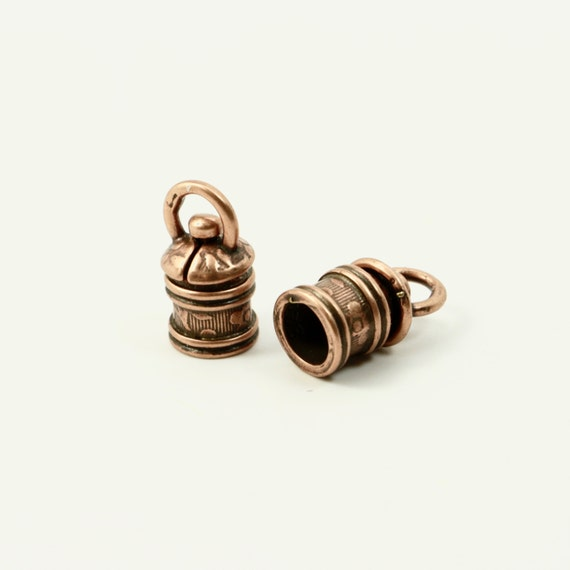 Jbb with leaves swivel end cap mm antique copper set of