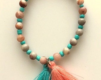 Natural Agate Beaded Tassel Bracelet - Natural Tans and Creams with Turquoise Beads - Adjustable Bracelet