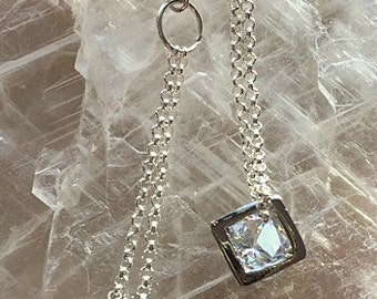 Sterling Silver Chain and CZ or Crystal Cube Square Open Stud/Post Earrings