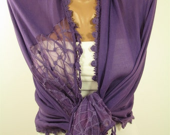 Cotton Scarf Tulle Purple Scarf Shawl Lace Scarf Spring Summer Scarf Purple Wedding Scarf Wrap Shawl Scarf Wedding Favors Bridesmaids Gifts