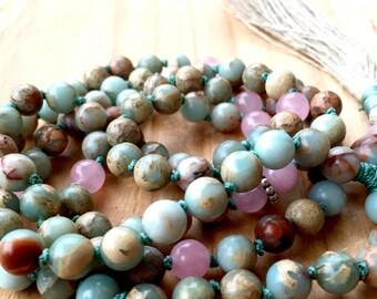 African Blue Opal Mala Beads Peruvian Blue Rose Quartz Bali sterling silver. Heart Chakra October Birthstone