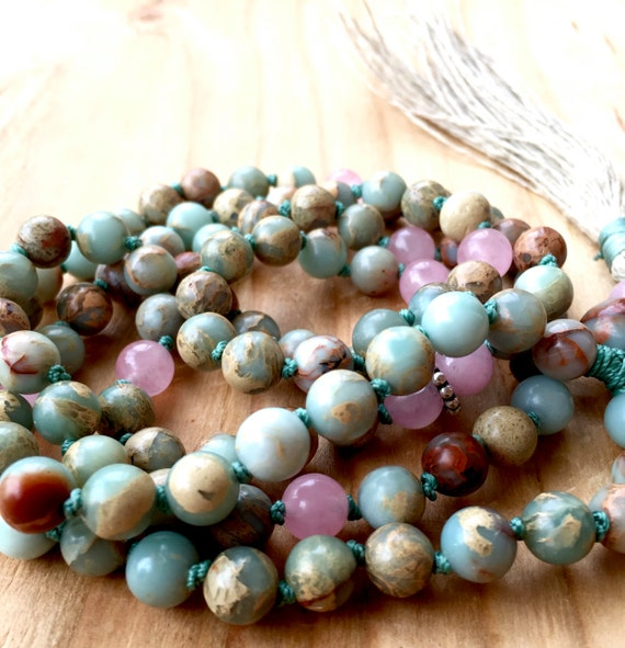 108 Mala Beads for Compassion and Self Love, African Opal, Rose Quartz, Heart Chakra, October Birthstone, Handmade, Tassel Necklace, Yoga