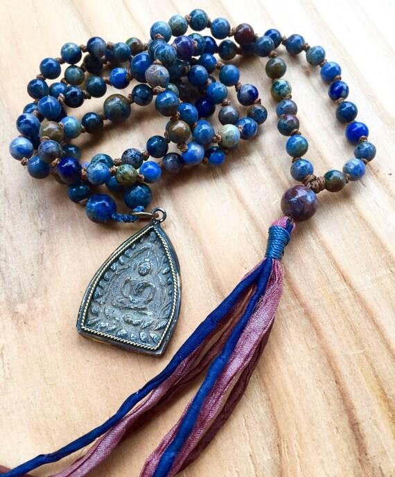 Buddha Mala Beads Sunset Dumortierite, Pietersite Boho 108 Japa Yoga Mantra Mala ,Third Eye Chakra, Courage, Silk Tassel Necklace