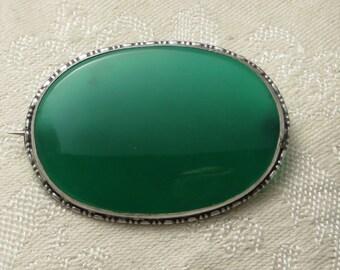 Vintage antique Edwardian art Deco era sterling silver Germany large green chrysoprase stone pin brooch