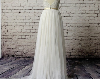 Exclusive Lace Wedding Dress Slim A Line Style with Champagne Underlay and Sweep Train