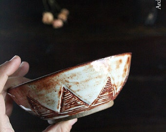 Handmade Ceramic triangular pattern Carved Stoneware Bowl with Shino glaze, Rustic Stoneware Bowl, Cereal Bowl