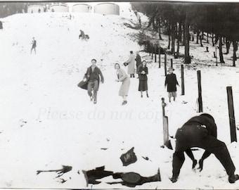 Vintage Photo ~  1932 Winter Snowball FIGHT ~  snow memories