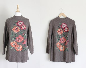 1980s Floral Sweater | Laura Ashley Sweater | Brown Sweater | Wool Sweater | New Old Stock | Small