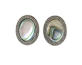 Vintage Abalone Earrings, Silver Tone, Oval, Clip Ons