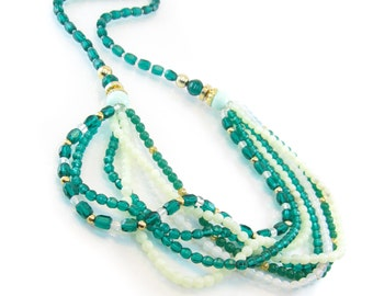 Vintage Green Glass Necklace, Multi Strand, Beaded, Gold Tone, Beads, Ring Clasp