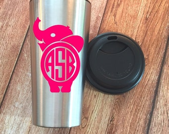 Monogram Elephant Coffee Tumbler, Elephant Coffee Tumbler, Elephant Travel Mug, Monogram Elephant, Elephant decal -Your Choice of two colors
