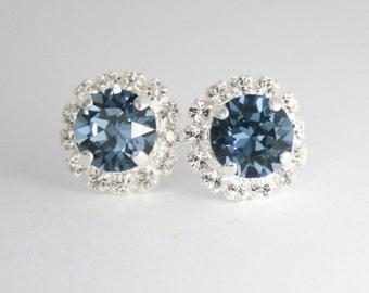 Blue crystal earrings,Denim blue Crystal Stud earrings,bridesmaid earrings,london blue topaz crystal earrings,Blue Bridal jewelry,Blue stud