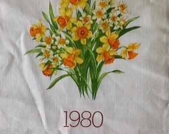 1980 Yellow Daffodil Calendar Tea Towel - 100% Linen