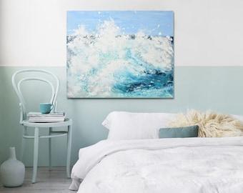 "Great Wave Ocean Art Painting Acrylic Original // ""Surge"" 24 x 30"" Canvas"