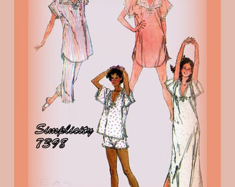 Vintage 1980s Sewing Pattern Misses Nightgown And Pajamas Simplicity 7398