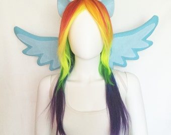 Rainbow Dash Costume with wings, ears and wig, Rainbow Dash cosplay, Rainbow Dash costume