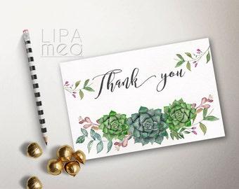 Printable Thank you Card, Floral Thank you Card, Wedding Thank you Card, Shower Thank you Card, Boho Thank you Card, Succulent Thank you