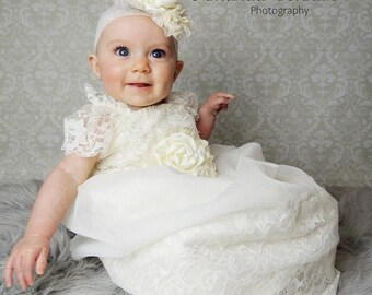 Baptism Gown - HOPE - Infant Lace Baptism Dress - Newborn to 12 Months Christening Gown - Vintage Look Christening Dress - Blessing Dress