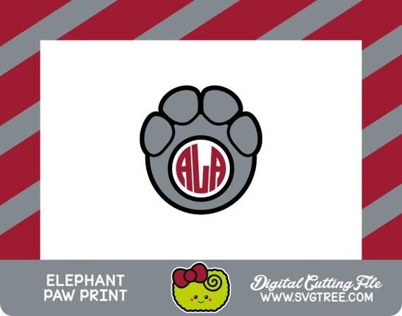 Paw Prints Monogram Svg: Elephant Monogram Paw Print SVG Elephant SVG Commercial Free