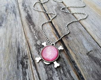 Skull Necklace, Ice Pink Necklace, Skull and Crossbones Necklace, glitter skull pendant, long necklace, Libra necklace Pink glitter necklace