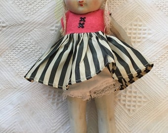 """Darling 9"""" all bisque doll/ great outfit"""