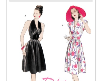 5209, Butterick, Misses Dress, Flare Dress, Marilyn Monroe Style, Vintage Re-Print, Retro 1947, Formal Dress, Halter topo, cap sleeve dress