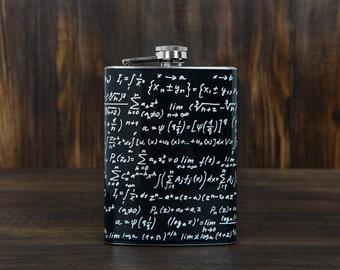 Mathematics flask / Math / Math Teacher Gift / Geek gift / Black / Stainless Steel / 7 oz