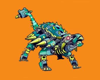 Ankylosaurus Robosaur art print 8x10