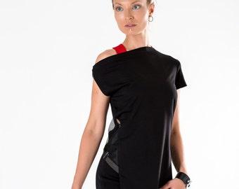 Black asymmetric tunic off shoulder loose blouse side cut out avanr-garde top boat neck modern clothing - 1SLT  black